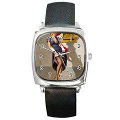 Retro Pin Up Girl Square Leather Watch by PinUpGallery