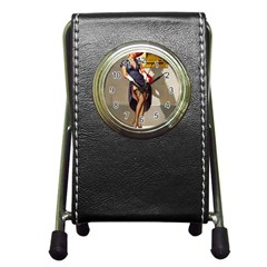 Retro Pin Up Girl Stationery Holder Clock by PinUpGallery