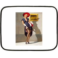 Retro Pin Up Girl Mini Fleece Blanket (two Sided) by PinUpGallery