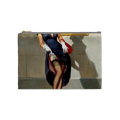Retro Pin Up Girl Cosmetic Bag (medium)