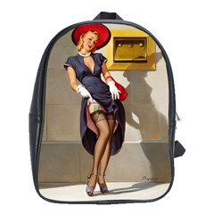 Retro Pin Up Girl School Bag (xl) by PinUpGallery