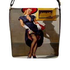 Retro Pin Up Girl Flap Closure Messenger Bag (large) by PinUpGallery