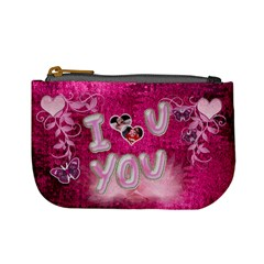 Hot Pink Heart Floral 2nd Coin Purse By Ellan   Mini Coin Purse   Qj46rf5j2dml   Www Artscow Com Front