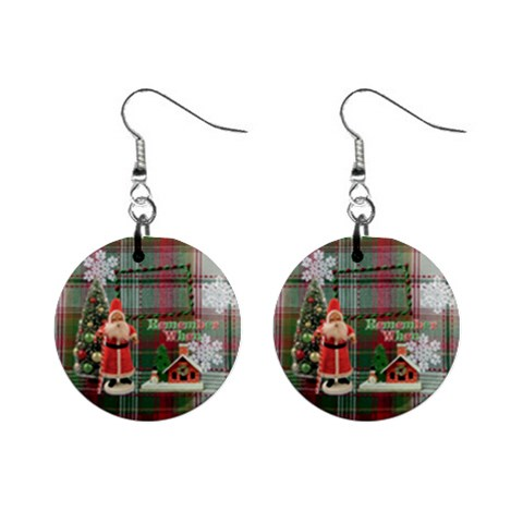 Remember When Santa Christmas Button Earrings By Ellan   1  Button Earrings   V30tayasas0m   Www Artscow Com Front