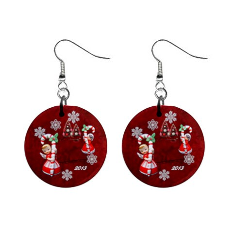Angels Christmas  Button Earrings By Ellan   1  Button Earrings   Evsrygn4h6sa   Www Artscow Com Front