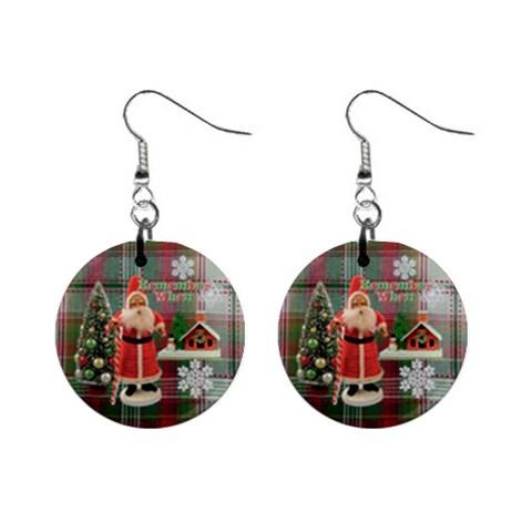 Remember When Santa Christmas No Frame Left Button Earrings By Ellan   1  Button Earrings   F56kviy00mya   Www Artscow Com Front