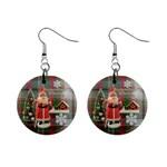 Remember When Santa Christmas no frame left button earrings - 1  Button Earrings