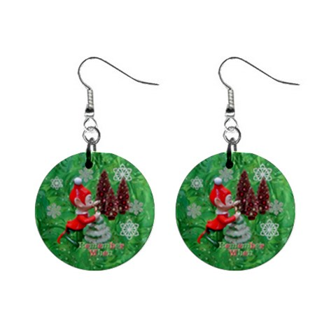 Remember When Elf Christmas No Frame Button Earrings By Ellan   1  Button Earrings   Qvi1rtvusndn   Www Artscow Com Front