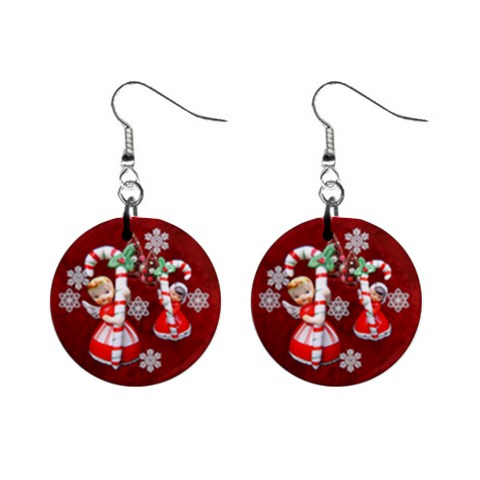 Angels Christmas No Frame  Button Earrings By Ellan   1  Button Earrings   Hhdrihb8zkx6   Www Artscow Com Front