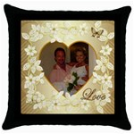 Faith Hope Love gold heart floral throw pillow - Throw Pillow Case (Black)