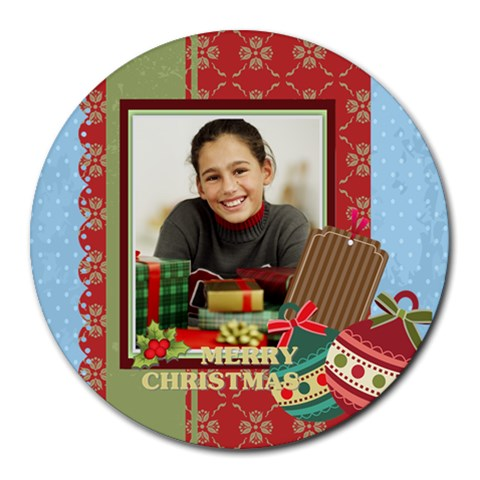 Christmas By Merry Christmas   Collage Round Mousepad   Q6dz3fibh4yw   Www Artscow Com 8 x8 Round Mousepad - 1