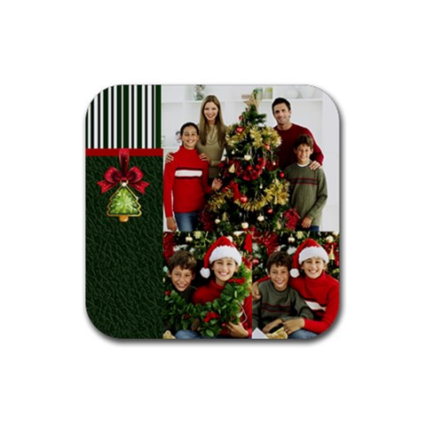 Christmas By Merry Christmas   Rubber Square Coaster (4 Pack)   Nop9ybzrise3   Www Artscow Com Front