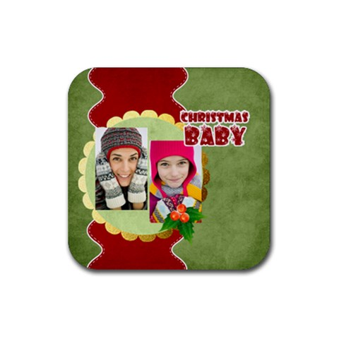 Christmas By Merry Christmas   Rubber Square Coaster (4 Pack)   3uk7ys4eksq7   Www Artscow Com Front