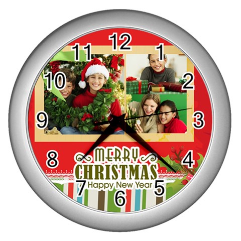 Christmas By Merry Christmas   Wall Clock (silver)   Oxj45xt74mpx   Www Artscow Com Front