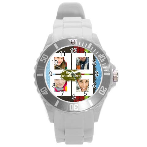 Xmas By Merry Christmas   Round Plastic Sport Watch (l)   Thho020txel6   Www Artscow Com Front