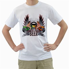 Chicks Bikes And Beer Mens  T Shirt (white) by Contest993860