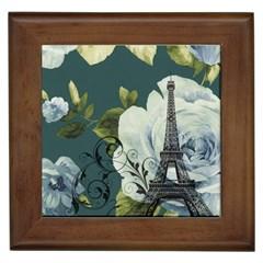 Blue Roses Vintage Paris Eiffel Tower Floral Fashion Decor Framed Ceramic Tile by chicelegantboutique