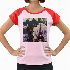 Blue Roses Vintage Paris Eiffel Tower Floral Fashion Decor Women s Cap Sleeve T Shirt (colored) by chicelegantboutique