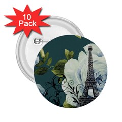 Blue Roses Vintage Paris Eiffel Tower Floral Fashion Decor 2 25  Button (10 Pack) by chicelegantboutique
