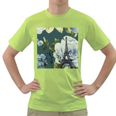 Blue Roses Vintage Paris Eiffel Tower Floral Fashion Decor Mens  T Shirt (green) by chicelegantboutique