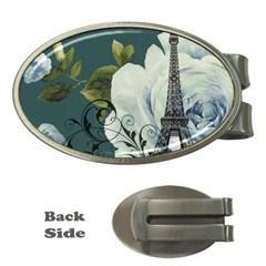 Blue Roses Vintage Paris Eiffel Tower Floral Fashion Decor Money Clip (oval) by chicelegantboutique