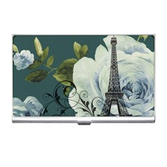 Blue Roses Vintage Paris Eiffel Tower Floral Fashion Decor Business Card Holder by chicelegantboutique