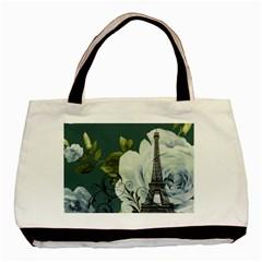 Blue Roses Vintage Paris Eiffel Tower Floral Fashion Decor Classic Tote Bag by chicelegantboutique
