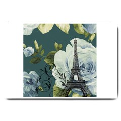 Blue Roses Vintage Paris Eiffel Tower Floral Fashion Decor Large Door Mat by chicelegantboutique