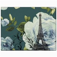 Blue Roses Vintage Paris Eiffel Tower Floral Fashion Decor Canvas 11  X 14  (unframed) by chicelegantboutique