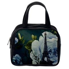 Blue Roses Vintage Paris Eiffel Tower Floral Fashion Decor Classic Handbag (one Side) by chicelegantboutique