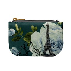 Blue Roses Vintage Paris Eiffel Tower Floral Fashion Decor Coin Change Purse by chicelegantboutique