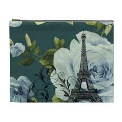 Blue Roses Vintage Paris Eiffel Tower Floral Fashion Decor Cosmetic Bag (xl) by chicelegantboutique