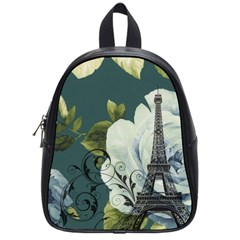 Blue Roses Vintage Paris Eiffel Tower Floral Fashion Decor School Bag (small) by chicelegantboutique