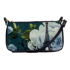 Blue Roses Vintage Paris Eiffel Tower Floral Fashion Decor Evening Bag by chicelegantboutique