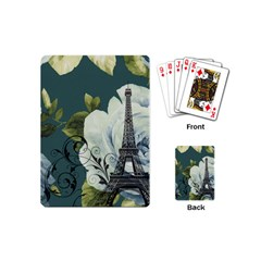 Blue Roses Vintage Paris Eiffel Tower Floral Fashion Decor Playing Cards (mini) by chicelegantboutique