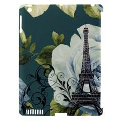 Blue Roses Vintage Paris Eiffel Tower Floral Fashion Decor Apple Ipad 3/4 Hardshell Case (compatible With Smart Cover) by chicelegantboutique