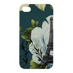 Blue Roses Vintage Paris Eiffel Tower Floral Fashion Decor Apple Iphone 4/4s Premium Hardshell Case by chicelegantboutique