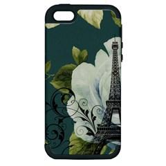 Blue Roses Vintage Paris Eiffel Tower Floral Fashion Decor Apple Iphone 5 Hardshell Case (pc+silicone) by chicelegantboutique