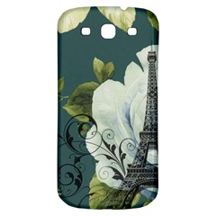 Blue Roses Vintage Paris Eiffel Tower Floral Fashion Decor Samsung Galaxy S3 S Iii Classic Hardshell Back Case by chicelegantboutique