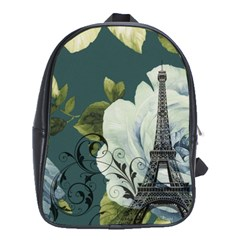 Blue Roses Vintage Paris Eiffel Tower Floral Fashion Decor School Bag (xl) by chicelegantboutique