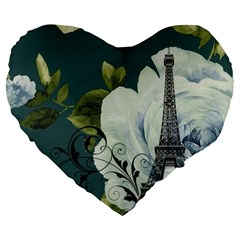 Blue Roses Vintage Paris Eiffel Tower Floral Fashion Decor 19  Premium Heart Shape Cushion by chicelegantboutique