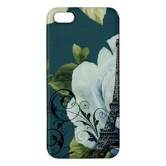 Blue Roses Vintage Paris Eiffel Tower Floral Fashion Decor Iphone 5 Premium Hardshell Case by chicelegantboutique