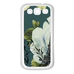 Blue Roses Vintage Paris Eiffel Tower Floral Fashion Decor Samsung Galaxy S3 Back Case (white) by chicelegantboutique