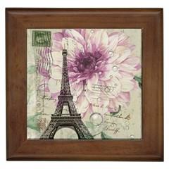 Purple Floral Vintage Paris Eiffel Tower Art Framed Ceramic Tile by chicelegantboutique