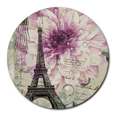 Purple Floral Vintage Paris Eiffel Tower Art 8  Mouse Pad (round) by chicelegantboutique