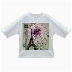 Purple Floral Vintage Paris Eiffel Tower Art Baby T Shirt by chicelegantboutique