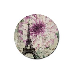 Purple Floral Vintage Paris Eiffel Tower Art Drink Coaster (round) by chicelegantboutique