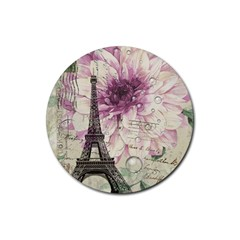 Purple Floral Vintage Paris Eiffel Tower Art Drink Coasters 4 Pack (round) by chicelegantboutique