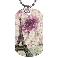 Purple Floral Vintage Paris Eiffel Tower Art Dog Tag (one Sided) by chicelegantboutique