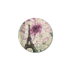 Purple Floral Vintage Paris Eiffel Tower Art Golf Ball Marker by chicelegantboutique